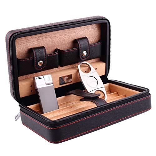 XYLLL Zigarre Zigarettenetui Herren Geschenkbox, Reise Tragbare Zigarren Humidor Set Zedernholz Futter Leder Oberfläche Zigarrenschere, Schwarz Braun 4 Stöcke (Farbe : SCHWARZ)