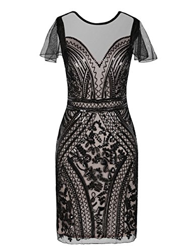 (kayamiya Damen Flapper Kleider Pailletten Art Deco Cocktail Gatsby Kleid S Schwarz Beige)