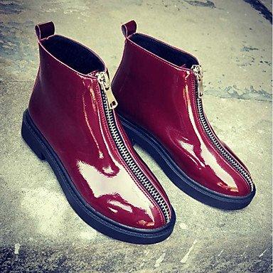 RTRY Scarpe Donna Pu Inverno Comfort Moda Stivali Stivali Chunky Tallone Punta Tonda Zipper Per Casual Rosso Nero US5.5 / EU36 / UK3.5 / CN35