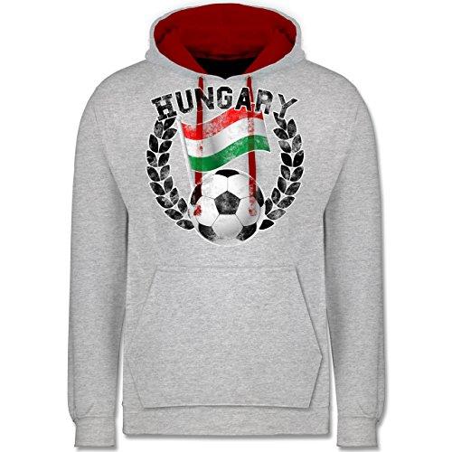 Fußball - Hungary Flagge & Fußball Vintage - Kontrast Hoodie Grau Meliert/Rot