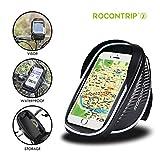 Support de vélo, Sac de vélo Rocontrip Cell support pour téléphone portable étanche Sac de cadre avant de vélo avec étui transparent Touchable Coque orientable à 360 degrés pour smartphone 4.0-14 cm (Sac de vélo pour 4.7-5.5 pouces)