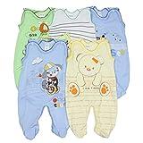 TupTam Unisex Baby Strampler mit Aufdruck Baumwolle 5er Set, Farbe: Junge, Größe: 56