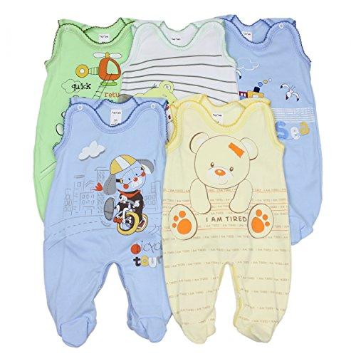 5er Set Baby Strampler 100% Baumwolle Babystrampler Strampelanzug Junge Mädchen, Farbe: Junge, Größe: 62