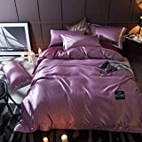 FJXJLKQS 4 Piece Satin Simple Solid Color Bedding Sets King Bed Size Duvet Cover,Fitted Sheet, Pillow Cases Set By,Purple-King:220x240cm