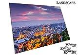 Poster Druck Stadt Malaga Spanien Nacht Skyline - A4