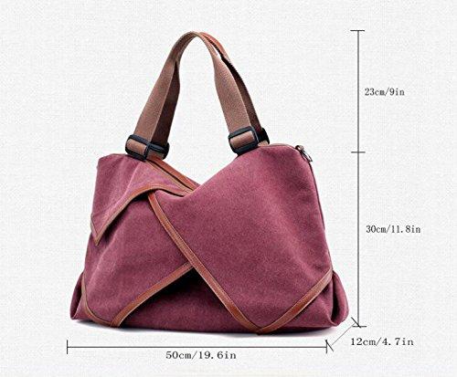 KYFW Ladies Canvas Bag Borsa A Tracolla Casual Grande Capacità Cuciture Borsa Pratica Del Sacchetto Borsa Da Viaggio Per Ufficio Weekend Vacation Messenger Borsa E