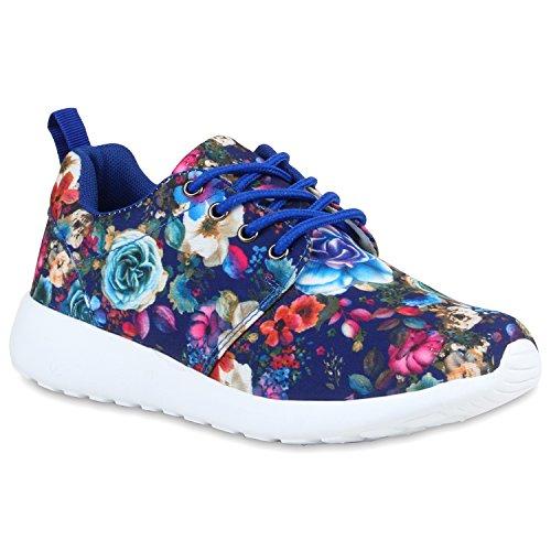 Damen Laufschuhe | Modische Sportchuhe| Sneaker Profilsohle |Glitzer Pailletten Sneakers | Runners Snake Blumen Blau Blumen