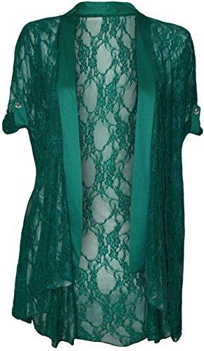 4 weniger neue Übergröße Fashion Damen Spitzen Short Sleeve Damen Offene Strickjacke 14-26 Grün - Jadegrün
