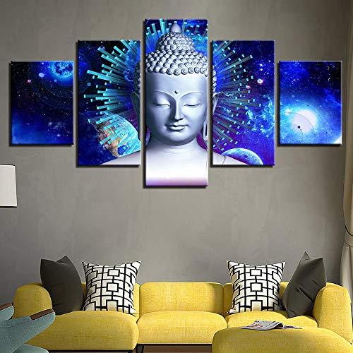 Arte-lienzos Decorativos-Cuadro-Modernos-Decorativos-Pared-fotosPintura de Buda, Paisaje religioso, Pintura Decorativa, Oficina clásica. SHHSGZ-150x80-Inner Frame