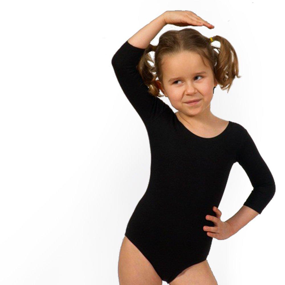 Shepa Body per danza e ginnastica, da bambina, maniche a 3/4, Bambini, nero, 146