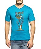 Clifton Men's Printed Half Sleeve V-Neck T-Shirt-Dark Blue-Wolf-4XL