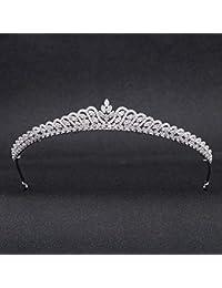 Tiara de plata de circonio para boda, tiara de novia de cristal, diadema de niñas, joyería para el cabello para pary CH10219