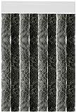 Flauschvorhang Individuell kürzbar Auswahl: Unistreifen Anthrazit - Schwarz 56 x 185 cm