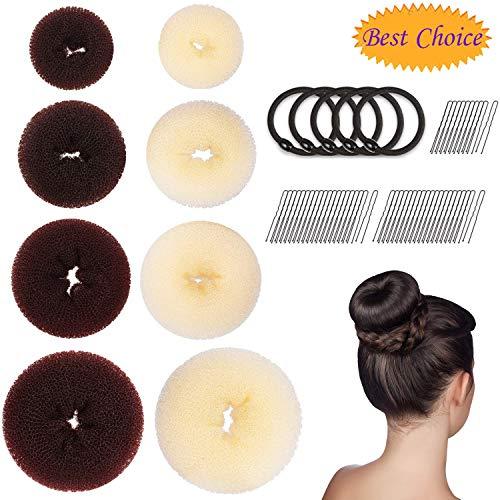 Donut Haarknoten, Bluesees Donut Haarknoten Maker, Haarring-Stil Duttmacher Set mit Haarknoten (2 extra große, 2 große, 2 mittelgroße und 2 kleine), 5 x elastische Bänder, 50 Stück Haarnadeln - Extra Haar Große Rollen