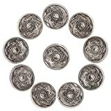 Faden & Nadel 10 Knöpfe aus Metall mit Blumenmotiv Ø ca. 15mm, Lochgröße: 2,2 mm, Farbe: antiksilber