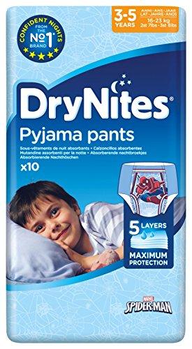 Huggies DryNites Boy hochabsorbierende Pyjamahosen Unterhosen für Jungen für 3-5 Jahre, 10 Stück (Saugfähige Einweg-unterwäsche)