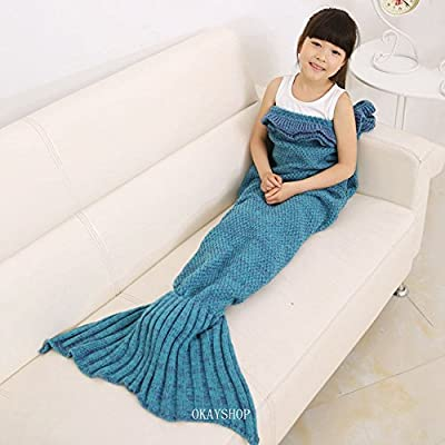 Kids crochet sirena cola manta, okayshop para tejer saco de dormir de artesanía para las niñas, todas las estaciones cálido sofá manta de salón, 135cmx65cm (53