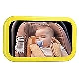 VicTsing Espejo Retrovisor de Bebé para Vigilar al Bebé en el Coche, 360° Ajustable Irrompible Interior Espejo para Silla Trasera de Bebé, para Los Asientos de Niños Orientados Hacia Atrás-Amarillo