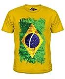 Brasilien Grunge Flag - Unisex: Kinder T-Shirt Top - Jungen/Mädchen/Kinder/Kleinkind - Karamellbonbon, Jungen, 152