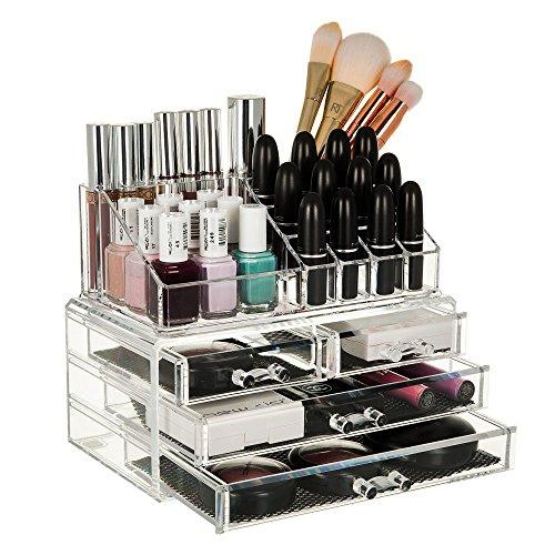 INOVERA (LABEL) 4 Drawer Plastic Cosmetic Makeup Jewellery Lipstick Storage Box, 25x16x20cm, Transparent