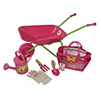 Little Pals Childrens Wheelbarrow and Gardening Tool Set, Pink, with Watering Can, Gloves, Trowel, Fork and Plant Marker in Carry Bag