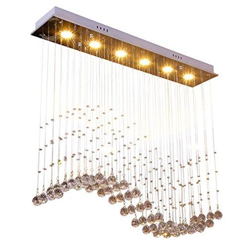 Moderne Minimalistische Lampen Rechteck kristall deckenleuchte LED Fashion Anhänger Esszimmer Hotel Wohnzimmer Studieren Hängeleuchte Elegant Einfach Stil Pendelleuchte 5 Lights L80cm