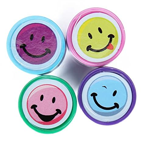 Gazechimp Lot 4pcs Tampon Cachet Sceau Encre Artisanat d'art Visage Souriant Smiley