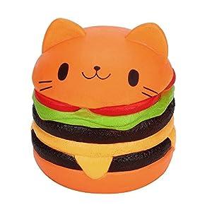 Newin Star Squishy Kawaii,Jumbo Gato de Dibujos Animados Hamburguesa Perfumada Lenta Levantar Exquisito Niño Juguete Suave (Naranja) de Newin Star