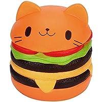 Newin Star Squishy Kawaii,Jumbo Gato de Dibujos Animados Hamburguesa Perfumada Lenta Levantar Exquisito Niño Juguete Suave (Naranja)