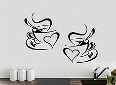 Idea Regalo - 2x tazze da caffè da tè Cucina parete adesivo vinile decalcomania arte Ristorante Bar Decor Amore