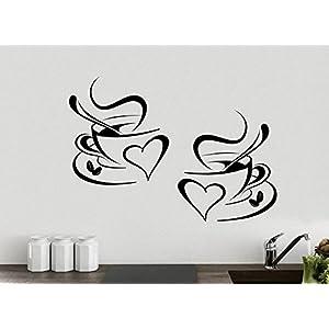 Adesivo cucina 2 tazze da caffè da tè Cucina parete adesivo vinile tazzine decalcomania arte Ristorante Bar Decor Amore