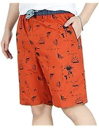 2b51ffe55a7a Heheja Herren Bermuda Cargo Shorts Mit Gummizug Männer Baumwolle Vintage  Kurze Hosen