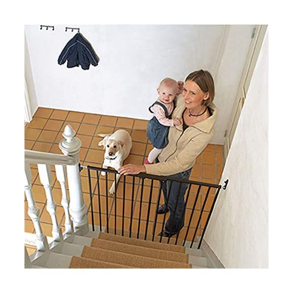 Bettacare Extra Tall Screw Fitted Safety Gate Black Bettacare Fits openings from 62.5cm to 106.8cm Screw fitted black or white powder-coated steel gate One-handed operation 3