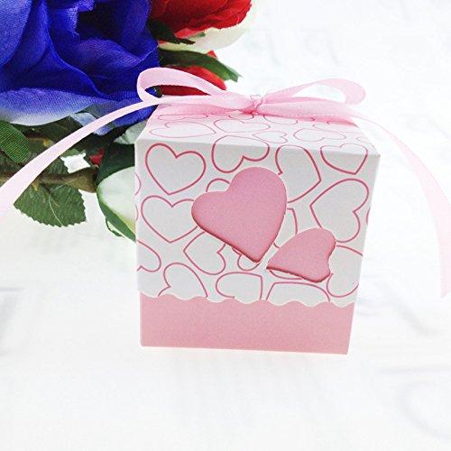 EQREF® 50pcs / lot fai da te Amore cuore Candy contenitori di regalo della sposa matrimonio favore Kit decorazione del partito - Amore Del Cuore Torta Nuziale