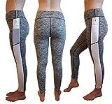 Sport Leggings Damen, Kompression Leggings für Yoga, Fitness, Gym, Laufen, Gymnastik, Pilates, mit Handytasche 6,7 Zoll, Premium Qualität (S, Grau und Weiß)