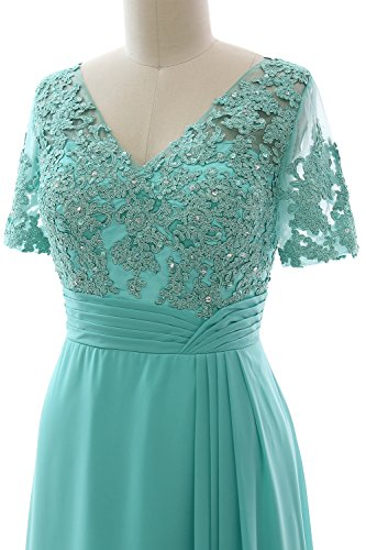 MACloth Elegant V Neck Mother of the Bride Dress Half Sleeve Formal Evening Gown Turquoise