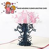3d papier de coupe carte de vœux faite à la main creux Paper Art Pot de fleurs carte de remerciement pour anniversaire Festival pour la fête, rose...