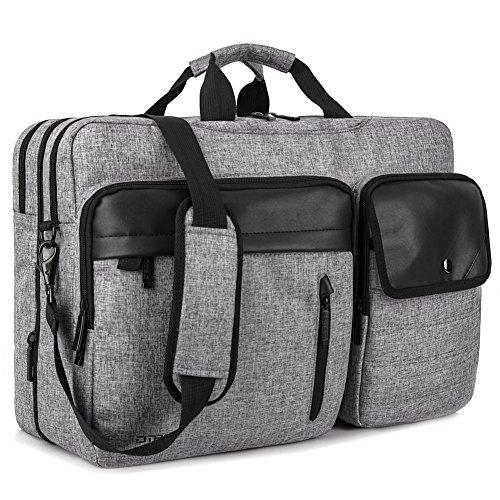 DTBG Nylon mehrzweck Businesstasche mehrfachfach Reise Rucksack geräumig Laptop Tasche Messenger Bag Aktentasche Computer Schultertasche Wanderntasche Daypack für 17,3 Zoll Laptop / Macbook / Tablet, Grau (Messenger Laptop Gepäck)