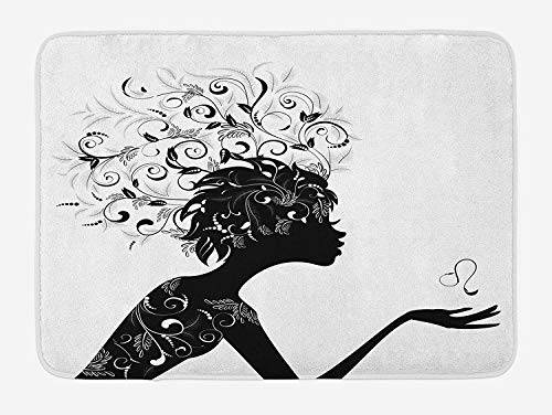 ASKYE Zodiac Leo Bath Mat, Silhouette of a Woman Figure with Swirls and Foliage Leaves Illustration, Plush Bathroom Decor Mat with Non Slip Backing, 23.6 W X 15.7 W Inches, Black and White White Swirl Glass Bowl