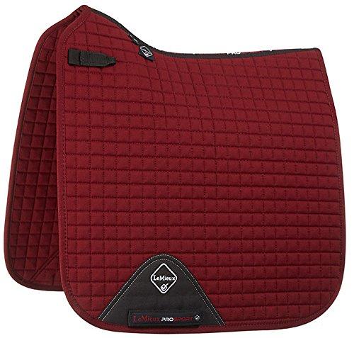 LeMieux Prosport Dressage D-Ring - Cubierta para Silla de Montar (Forma Cuadrada) Rojo Granate Talla:Large