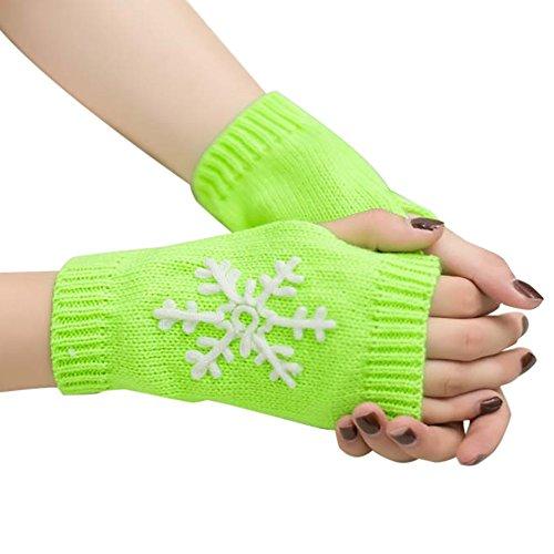 Damen Schneeflocke Stricken Halbe Fingerhandschuhe Handschuhe Frau Fingerless -