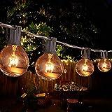 LATIT Lichterkette,G40 Außen Deko String Glühbirnen Listed,Wasserdichte String Lights,Warmweiß, für Innen und Außen,7.62M Lichterkette(25 Birnen mit 2 Ersatzbirnen)