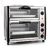 oneConcept All-You-Can-Eat - Four grill, Four électrique, Four double, 42L au total, 2400W, Température réglable, 60-240°, Ti