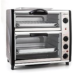 oneConcept All-You-Can-Eat • Four grill • Four électrique • Four double• 42L au total • 2400W • Température réglable • 60-240° • Timers • 2x plaques • Fenêtre large • Broche • Poids 7kg • Argent