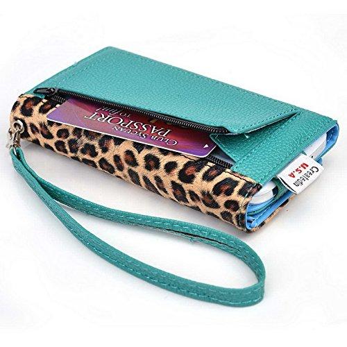 Kroo Pochette Téléphone universel Femme Portefeuille en cuir PU avec dragonne compatible avec Huawei Honor 7I Multicolore - Emerald Leopard Multicolore - Emerald Leopard