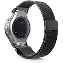 Samsung Gear S2 Sport Bracelet, MoKo Watch Band Milanais en acier inoxydable avec Fermeture Magnétique pour Samsung Gear S2 Sport Montre connectée, Noir