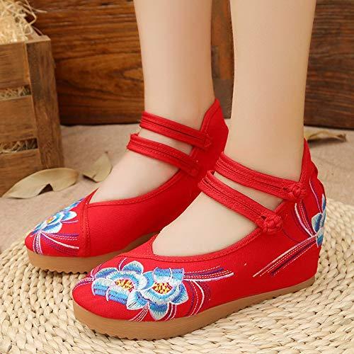 YOPAIYA Espadrilles,Rot Frühling Und Sommer Tanz Schuhe Bestickte Schuhe, Chinesischen Stil, Erhöhte Rindfleisch Sehne, Dicke Square Dance, Die Komfortablen Frauen Schuhe, 35 -