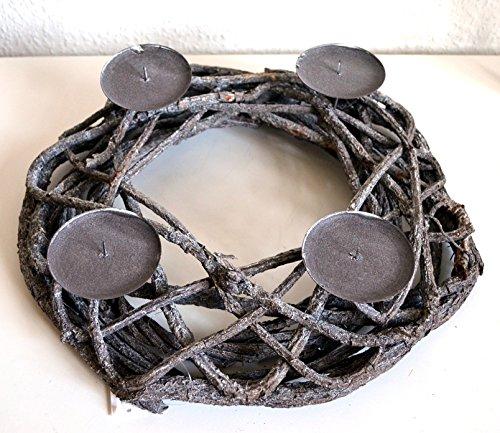 Kranz Weihnachtsdeko Adventskranz Adventsteller Rattan Korb Metall Kerzenleuchter rund grau Tischdeko Deko ca. 36cm Durchm.