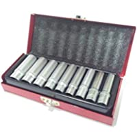 Set 9 Bussole Attacco 14 Pollici Lunghe 5 Cm. Chrome Vanadium Cassetto Metallo