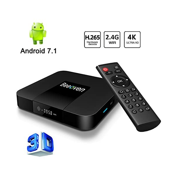 Beeoven-Android-TV-Box-1GB-RAM8GB-ROM-Android-71-Nougat-Quad-core-ARM-Cortex-A53-Smart-TV-BoxWifi-24GHz4K-Full-HDH265LAN-100M